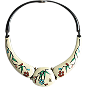 Creamy Colorful Enameled Metal Floral Choker Necklace