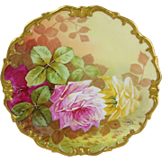 Vintage French Limoges Plaque Charger Hand Painted Roses Signed