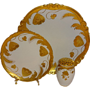 Antique Stouffer Plate Charger Muffineer Hand Painted with Poppies Wheat Stylized Embossed Des