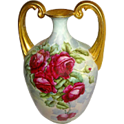 "Magnificent - ""Strong Arm"" - Vase - HAND PAINTED - Romantic Bouquet - Crimson Roses"