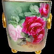 Guerin Limoges - France - Cache Pot - Vase - Hand Painted - Romantic Bouquets - Roses - Museum