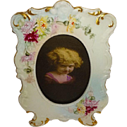 D&C - Limoges - France - Porcelain - Picture - Photo - Frame - Hand Painted - Spider Chrysanth