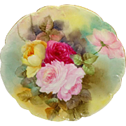 French Vintage HAVILAND Limoges Plate Hand Painted ROSES