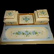 Antique - T&V - Limoges - France - Hand Painted - Desk Set - 2 Ink Wells - 4 Porcelain Corners