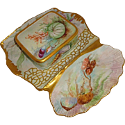 Antique French Limoges Sardine Set Hand Painted Tray Box Sealife