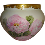 SALE HUGE Magnificent Antique French Limoges Jardiniere Vase Hand Painted Pink Roses Blue ...