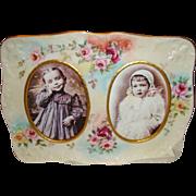 D&C - Limoges - France - Porcelain Portrait - Photo Frame - HAND PAINTED - ROSES - Circa 1900