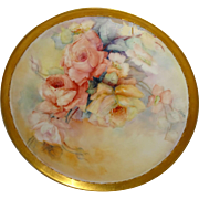 Antique French Limoges Artist Signed Charger Tray Hand Painted Roses