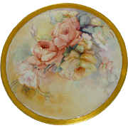 Antique Limoges Tray Charger with Hand Painted Roses Signed