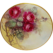 STUNNING - Limoges - France - Plate - Hand Painted - Victorian Style Bouquet - Pink Roses - ..