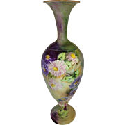 Antique CAC Belleek Vase with Hand Painted Chrysanthemums