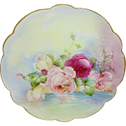 Beautiful - Limoges - France - Plate - Hand Painted - Reflecting Pink Roses - Coin Gold - ...