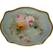 "Guerin - Limoges - France - Impressive - 16"" Tray - Hand Painted - Victorian Bouquet - Ro"