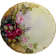 Limoges - France - Plate - Hand Painted - Romantic ROSE Bouquet - Artist Signed - Circa 1932 -