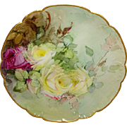 Vintage Haviland French Limoges Plate Hand Painted Roses Artist Signed