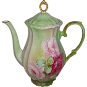Vintage German Bavaria Coffee Pot with Hand Painted Pink Roses