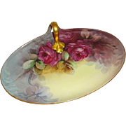 SALE Vintage French Guerin Limoges Tray with Hand Painted Crimson Roses