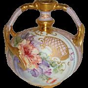 Vintage French Limoges Vase Hand Painted Roses Gilded Design Enamel Jewels