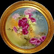 Gorgeous - Framed - JPL - Limoges - France - Plate - Hand Painted - Scarlet Tea Roses - Lush G