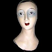 Vintage - Ladies - Hand Carved - Wood - Hat Stand Display - Sculptured - Mannequin Bust - Only