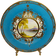 Nippon - Japan - Scenic Plate - Highly Ornate Gilded Design - Floral Border - M-In-A-Wreath -