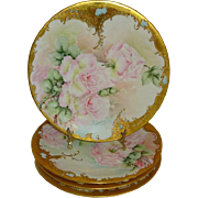 4 Antique French Limoges France Plates Hand Painted Pink Roses Gilded Borders Blue Jewel Dated