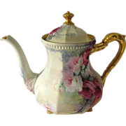 SOLD Exquisite - Bawo & Dotter - Limoges - France - Footed - Coffee - Tea Pot - Hand Paint