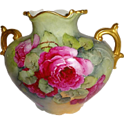 Vintage French JPL Limoges France Pillow Vase Hand Painted Pink Roses