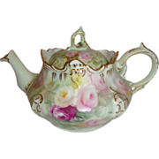 SALE Antique German Bavaria Rosenthal Teapot with Hand Painted Roses