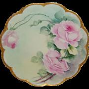 Vintage Haviland Limoges France Plate Hand Painted Pink Roses