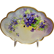 Vintage French GDA Limoges Hand Painted Violets Trinket Tray Pickard Artist Koenig Signed