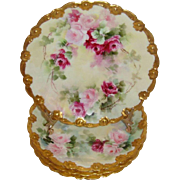 Four (4) – Breathtaking - Antique - Limoges -France - Hand Painted - Plates - Romantic Pink