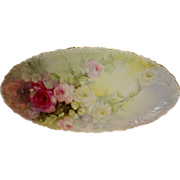 Stunning - Pouyat - Limoges - France - Vanity Tray - Hand Painted - Romantic Victorian Bouquet