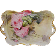 Exquisite French Antique Theodore Haviland Limoges France Tray with Romantic Pink Roses Artist