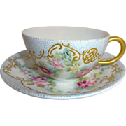 SOLD Gorgeous - Antique - French - Limoges - Cup - Saucer - Hand Painted - English Tea Roses -
