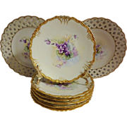 SALE Vintage French Limoges Ice Cream Dessert Plate Set Hand Painted Purple African Violets ..