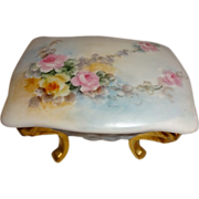 Lovely - Vanity - Footed - Trinket Box - Hand Painted - Romantic Bouquets - Sweetheart Roses -