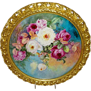 "Magnificent - 14 1/2"" - Framed - Charger - Plaque - Wall Art - Hand Painted - Romantic Fr"