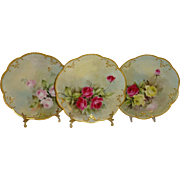 3 French Limoges France Antique Porcelain Plates with Hand Painted Roses