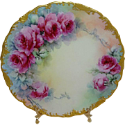 Antique Limoges France Plate Hand Painted Pink Roses