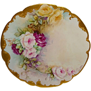 Lovely - Limoges - France - Hand Painted - Antique Porcelain Plate - Victorian Rose Bouquet -
