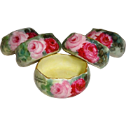 Five (5) - D&C - Limoges - France - Salts - Hand Painted - Sweetheart Roses - Coin Gold Accent