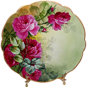 D&C Limoges France Antique Porcelain Plate with Hand Painted Sweetheart Roses - - Only Fine Li