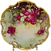 Antique Austria Hand Painted Plate Red Roses Signed Dated 1904