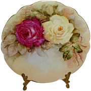 D&C Limoges France Antique Porcelain Plate with Hand Painted Romantic Roses  Bouquet - Artist
