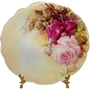 SALE D&C Limoges France Antique Porcelain Plate with Hand Painted Pink Sweetheart Roses - ...