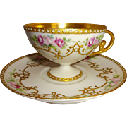 Exquisite Antique French Limoges Pedestal Cup Saucer Hand Painted Pink Roses Gilded Ornate Des