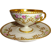 Antique French Limoges Pedestal Cup Saucer Hand Painted Roses Gilded Ornate Design Jewels