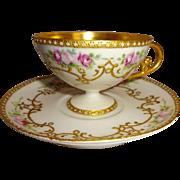 Antique Limoges France Pedestal Cup Saucer Hand Painted Pink Roses Gilded Design Jewels