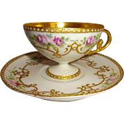 Exquisite French Antique Limoges France Pedestal Cup Saucer Hand Painted Pink Tea Roses Gilded